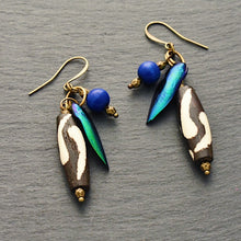 Load image into Gallery viewer, Take Flight Earrings #2: Iridescent Green and Blue Earrings - Afrocentric jewelry