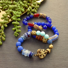 Load image into Gallery viewer, African Blue Pattern Bracelet - Afrocentric jewelry