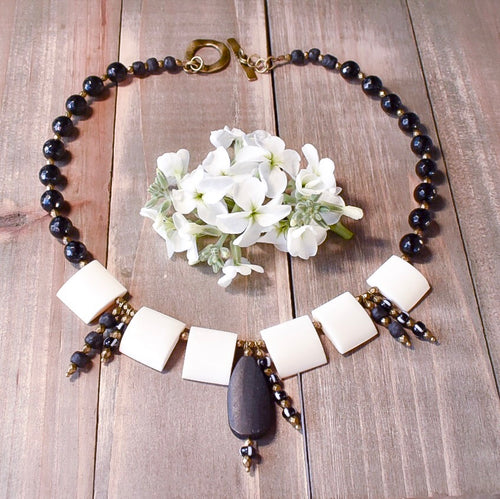 Black and White African Statement Necklace - Afrocentric jewelry