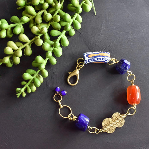 Lapis and Carnelian African Beaded Charm Bracelet (Reserved for AR)