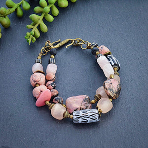 Rhodonite and African Double Strand Bracelet - Afrocentric jewelry
