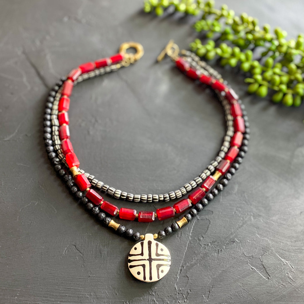 Red and Black Bohemian Multi-strand Necklace
