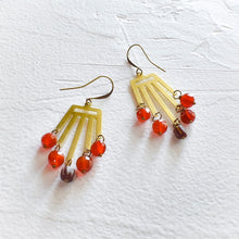 Load image into Gallery viewer, Carnelian and African Bead Dangle Earrings