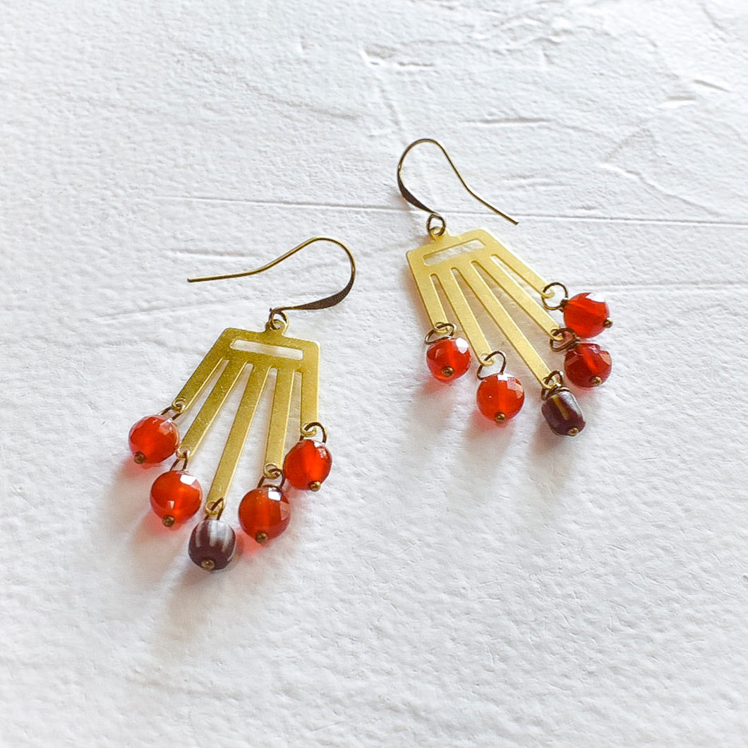 Carnelian and African Bead Dangle Earrings