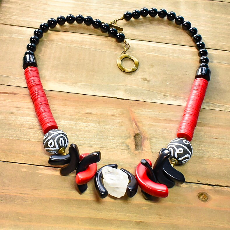 Rough Quartz with Red and Black Tagua Scythe and African Vinyl Statement Necklace - Afrocentric jewelry