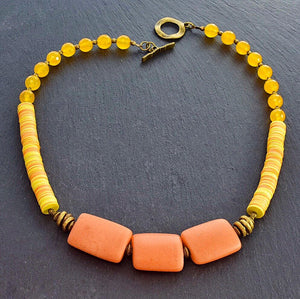 Orange and Yellow Angular African Trade Bead Necklace with Colored Jade - Afrocentric jewelry