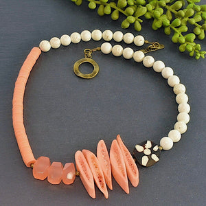 Peach Bohemian Structural Statement Necklace - Afrocentric jewelry