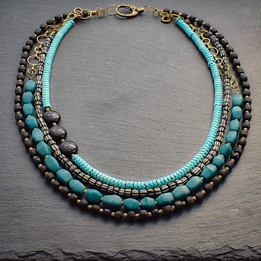 Black and Teal African Glass Multi-strand Necklace - Afrocentric jewelry