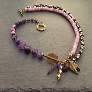 Amethyst and Polka Dot Afrobohemian Necklace - Afrocentric jewelry