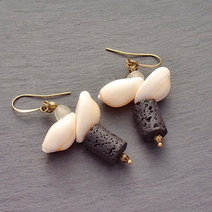 Cowrie Flower Earrings with Black Lava Stone (pre-order) - Afrocentric jewelry
