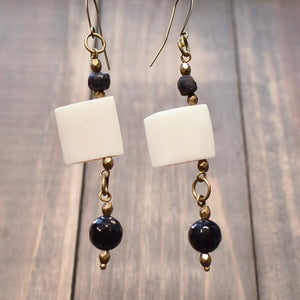 Black and White Carved Bone Flag Dangle Earrings - Afrocentric jewelry