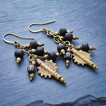 Load image into Gallery viewer, Black African Trade Bead Waterfall Earrings - Afrocentric jewelry