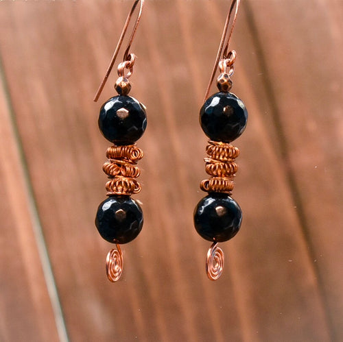 Black and Copper Coil Earrings - Afrocentric jewelry
