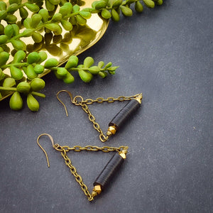Triangle Hoop Earrings with African Vinyl - Afrocentric jewelry