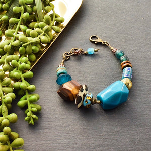 Teal African Beaded Toggle Bracelet with Tiger's Eye and Tagua - Afrocentric jewelry