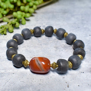 Carnelian and Speckled Gray African Trade Bead Chunky Bracelet - Afrocentric jewelry