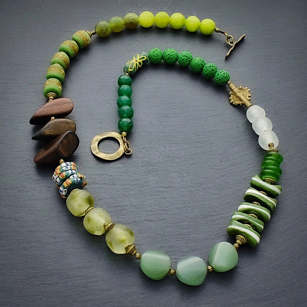 All the Greens Structural Seasonal Necklace - Afrocentric jewelry