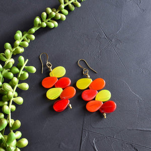 Red and Orange Mali Wedding Bead Drop Earrings