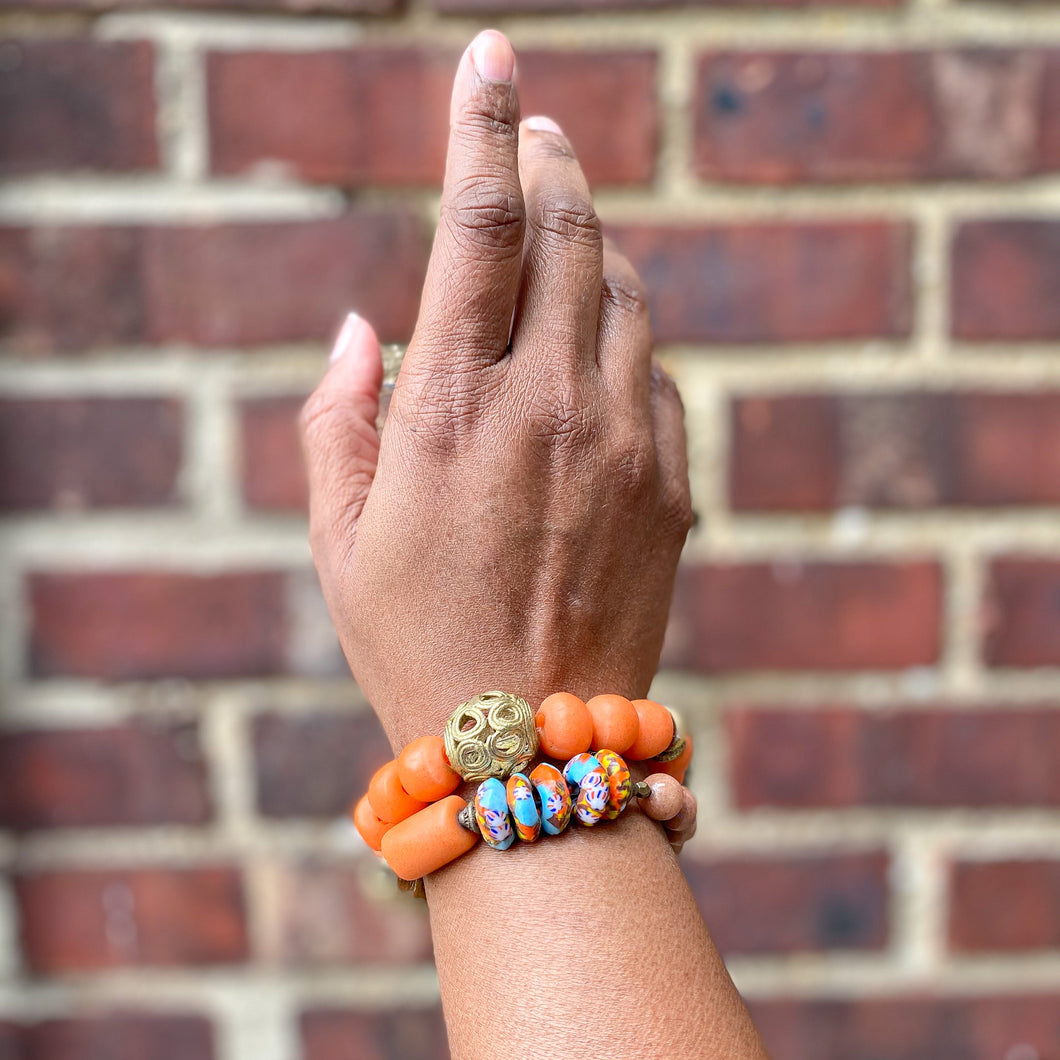Creamsicle African Beaded Bracelet Set
