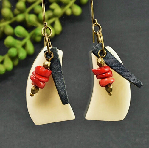 Cream Tagua Wave Earrings with Black Coconut Shell and Red Coral - Afrocentric jewelry