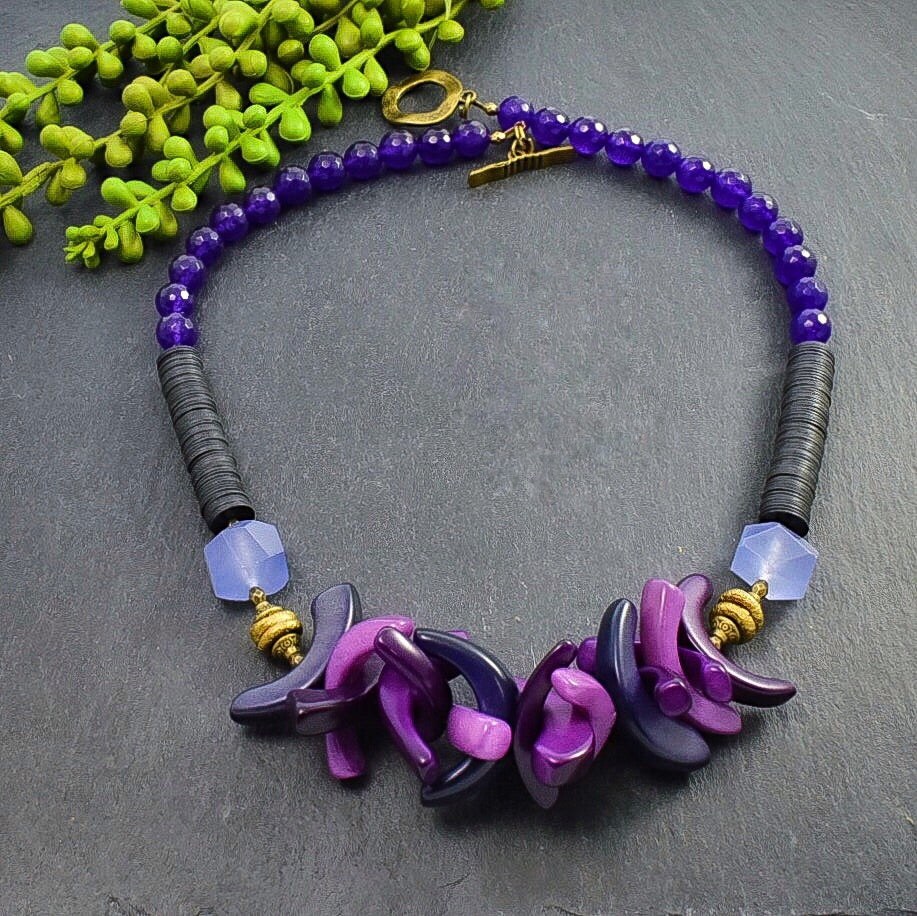 Purple, Violet, and Lavender Tagua and Recycled Vinyl Statement Necklace - Afrocentric jewelry