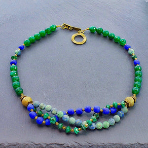 Malachite and Chrysocolla Multi-strand Necklace with Trade Beads and Ashanti Brass - Afrocentric jewelry
