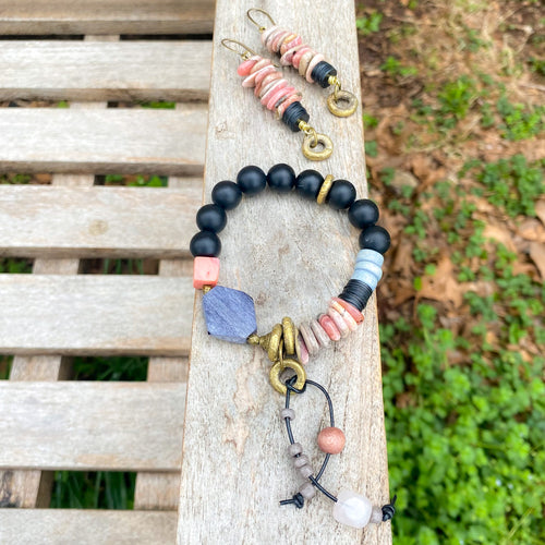 Tethered Rhodonite and Leather Bracelet