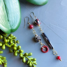 Load image into Gallery viewer, Black and Red Asymmetrical Diva Swing Earrings