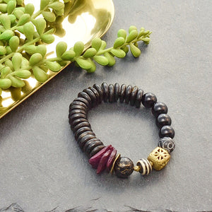 Tonal Bracelets with Coconut Shell and African Beads - Afrocentric jewelry