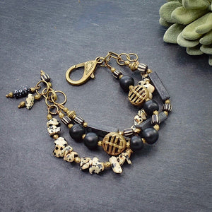 Black African Trade Bead and Jasper Multi-strand Bracelet (JE) - Afrocentric jewelry