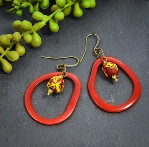 Red Tagua Hoop Earrings African Krobo Beads - Afrocentric jewelry