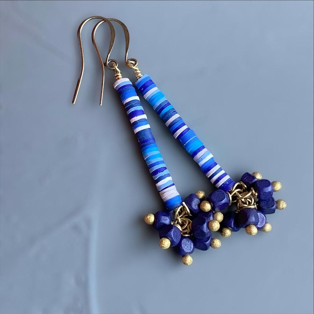 Blue African Vinyl Dangle Earrings