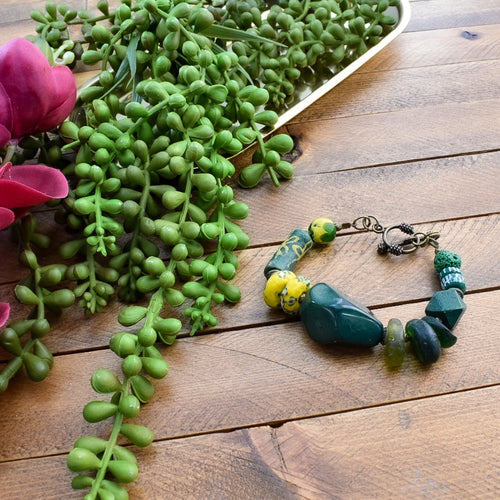 Green African Bead and Tagua Toggle Bracelet