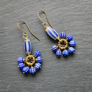 Blue and Grey Cluster Antique African Earrings (Pre-order)