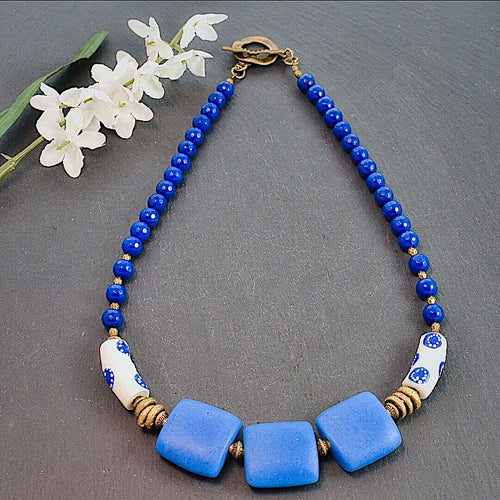 Blue and White African Trade Bead Necklace with Colored Jade - Afrocentric jewelry