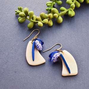 Cream Tagua Wave Earrings with Blue Coconut Shell and African Trade Beads - Afrocentric jewelry