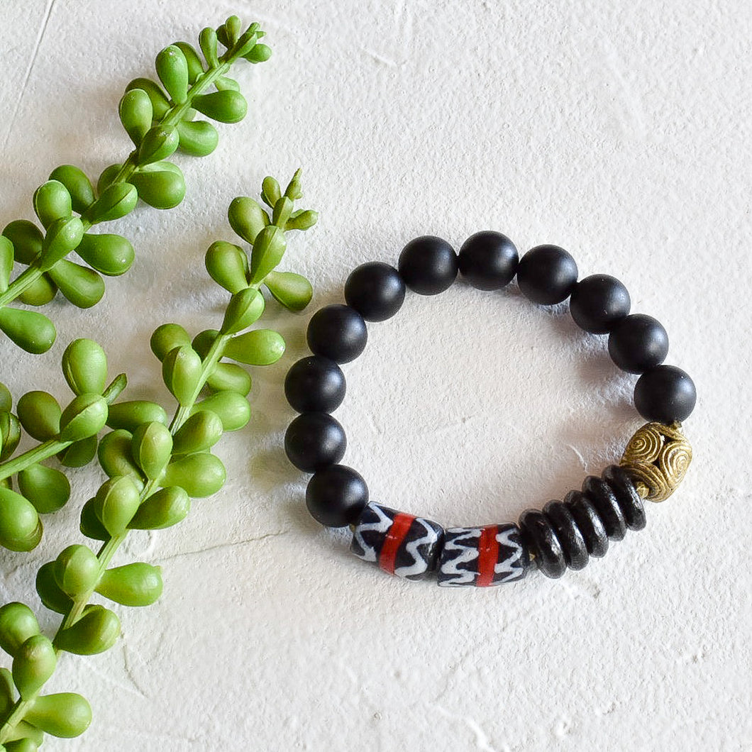 Black and Red African Beaded Bracelet