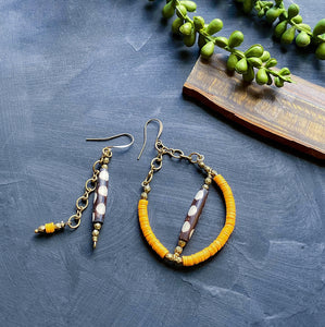 Orange African Asymmetrical Recycled Earrings