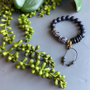 Tethered Black African Bead and Leather Bracelet