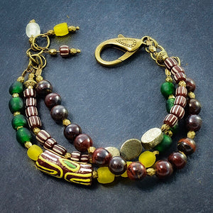 Tiger Iron and African Trade Bead Multi-strand Bracelet - Afrocentric jewelry