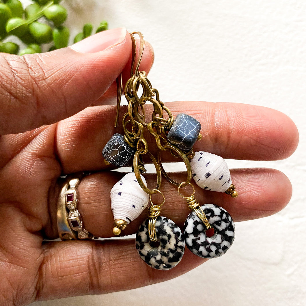 Black and White African Drop Earrings (Made to Order)