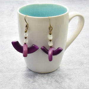 Purple Tagua Crane Drop Earrings - Afrocentric jewelry