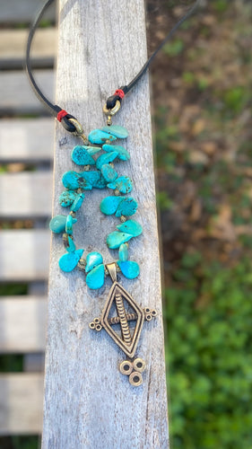 Turquoise and Leather Ashanti Brass Necklace