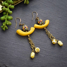 Load image into Gallery viewer, Yellow Tagua Dangle Earrings with African Beads - Afrocentric jewelry