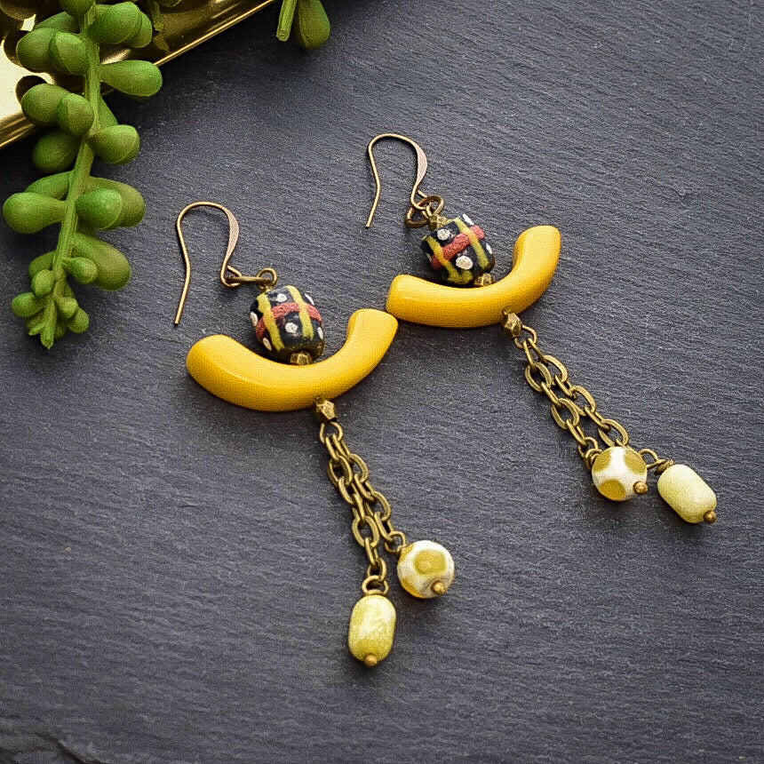 Yellow Tagua Dangle Earrings with African Beads - Afrocentric jewelry