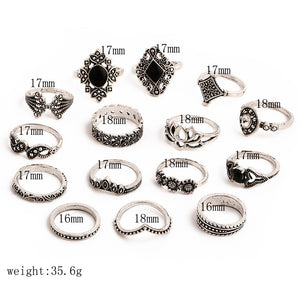 Retro Crystal Silver Rings for Women Set of 15. - hope2shop