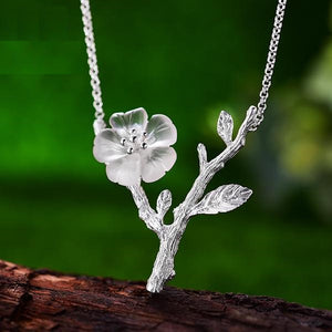 Sterling Silver Handmade Flower in the Rain Necklace - hope2shop