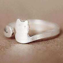 Load image into Gallery viewer, Cat Sliver Plated Open Adjustable Ring