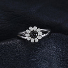 Load image into Gallery viewer, 1.11ct Natural Black Spinel Flower Ring For Women - hope2shop