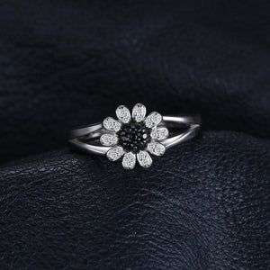 1.11ct Natural Black Spinel Flower Ring For Women - hope2shop